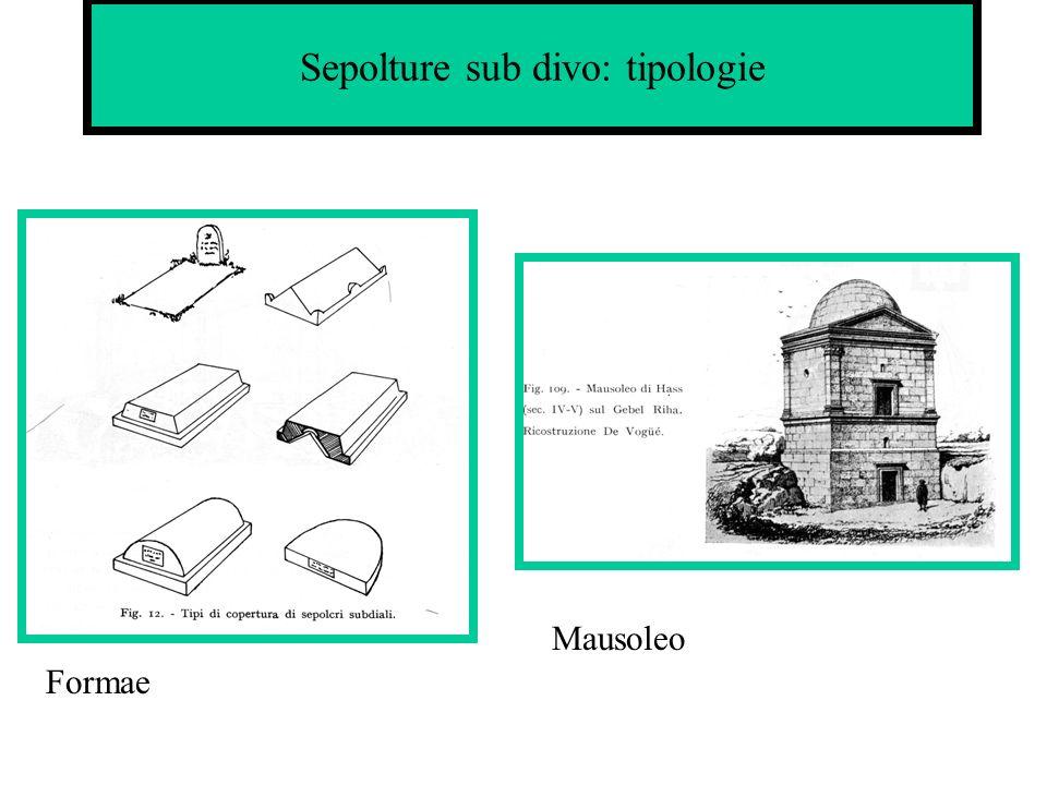 Sepolture sub divo: tipologie Formae Mausoleo