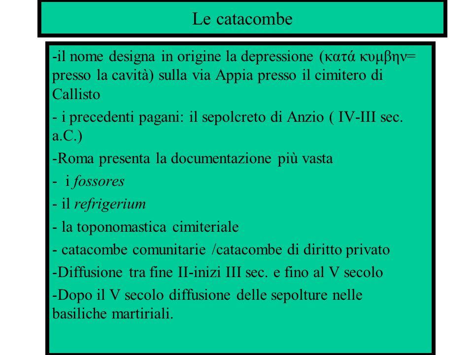 Le catacombe -il nome designa in origine la depressione (κατά κυμβην= presso la cavità) sulla via Appia presso il cimitero di Callisto - i precedenti