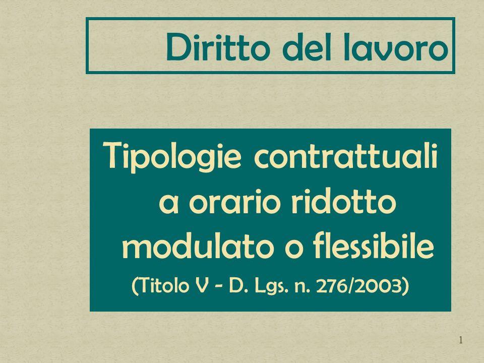 Tipologie contrattuali a orario ridotto modulato o flessibile (Titolo V - D. Lgs. n. 276/2003) Diritto del lavoro 1