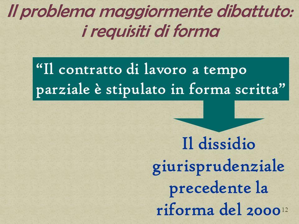 Il contratto di lavoro a tempo parziale è stipulato in forma scritta Il dissidio giurisprudenziale precedente la riforma del 2000 12