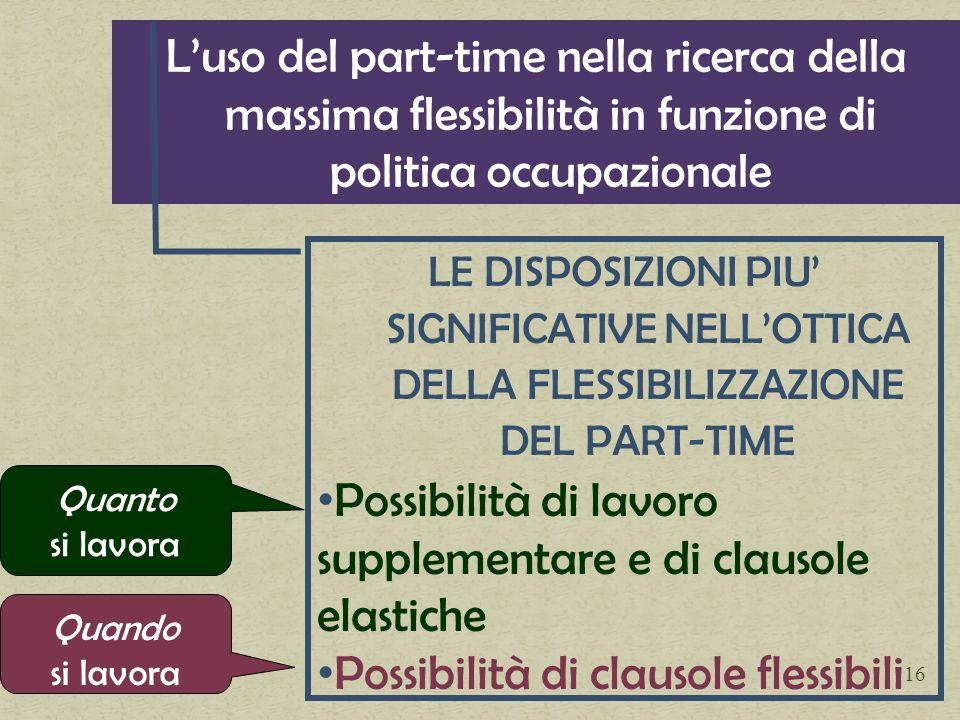 Luso del part-time nella ricerca della massima flessibilità in funzione di politica occupazionale LE DISPOSIZIONI PIU SIGNIFICATIVE NELLOTTICA DELLA F