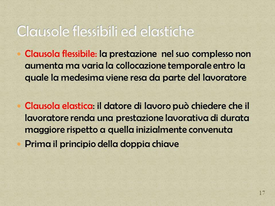 Clausola flessibile: la prestazione nel suo complesso non aumenta ma varia la collocazione temporale entro la quale la medesima viene resa da parte de