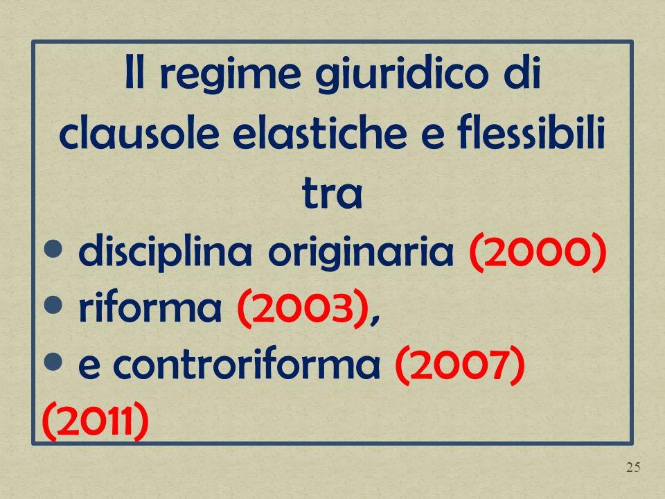 Il regime giuridico di clausole elastiche e flessibili tra disciplina originaria (2000) riforma (2003), e controriforma (2007) (2011) 25
