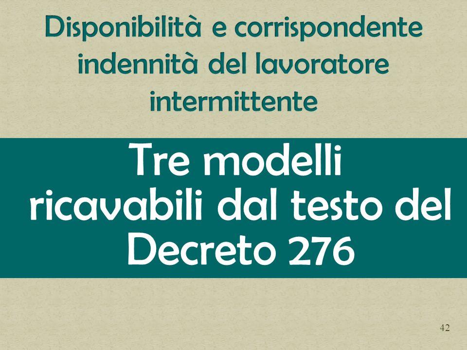 Tre modelli ricavabili dal testo del Decreto 276 42