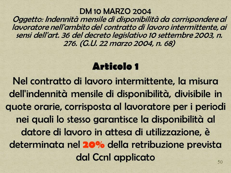 DM 10 MARZO 2004 Oggetto: Indennità mensile di disponibilità da corrispondere al lavoratore nell'ambito del contratto di lavoro intermittente, ai sens