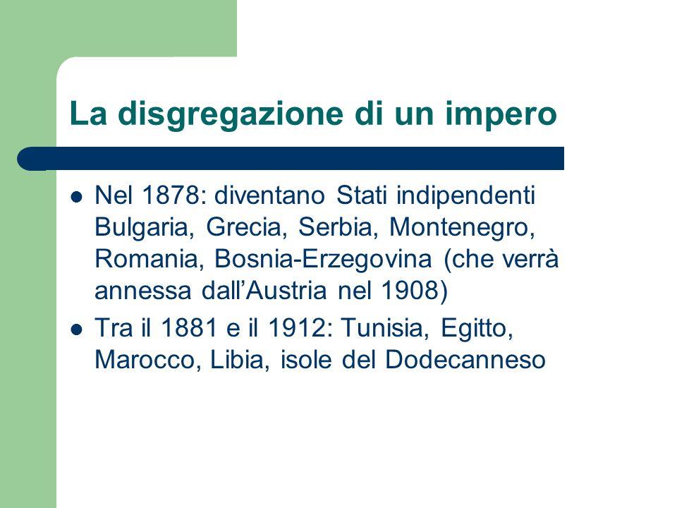 La disgregazione di un impero Nel 1878: diventano Stati indipendenti Bulgaria, Grecia, Serbia, Montenegro, Romania, Bosnia-Erzegovina (che verrà annes
