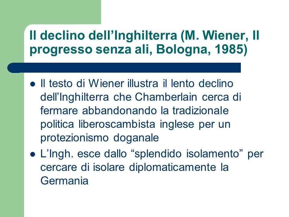 Il declino dellInghilterra (M. Wiener, Il progresso senza ali, Bologna, 1985) Il testo di Wiener illustra il lento declino dellInghilterra che Chamber