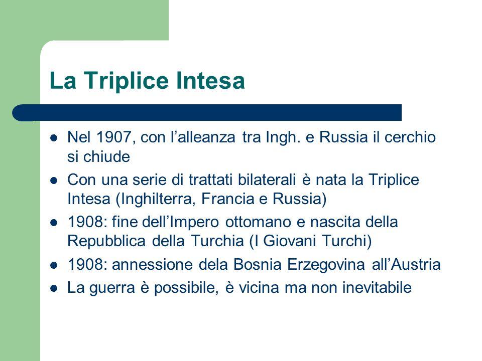 La Triplice Intesa Nel 1907, con lalleanza tra Ingh. e Russia il cerchio si chiude Con una serie di trattati bilaterali è nata la Triplice Intesa (Ing