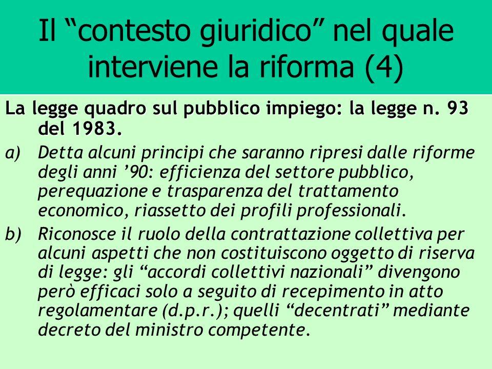 Il contesto giuridico nel quale interviene la riforma (4) La legge quadro sul pubblico impiego: la legge n. 93 del 1983. a)Detta alcuni principi che s