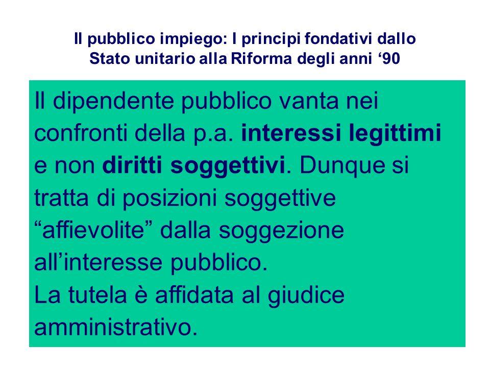 Il pubblico impiego: I principi fondativi dallo Stato unitario alla Riforma degli anni 90 Il dipendente pubblico vanta nei confronti della p.a. intere