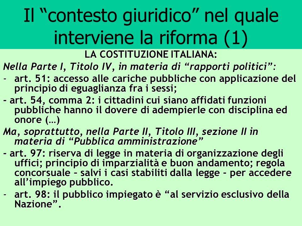 Il contesto giuridico nel quale interviene la riforma (2) Il d.p.r.