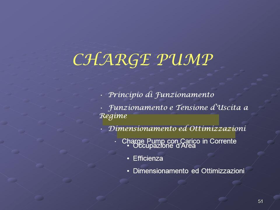 51 CHARGE PUMP Principio di Funzionamento Funzionamento e Tensione dUscita a Regime Dimensionamento ed Ottimizzazioni Charge Pump con Carico in Corrente Occupazione dArea Efficienza Dimensionamento ed Ottimizzazioni
