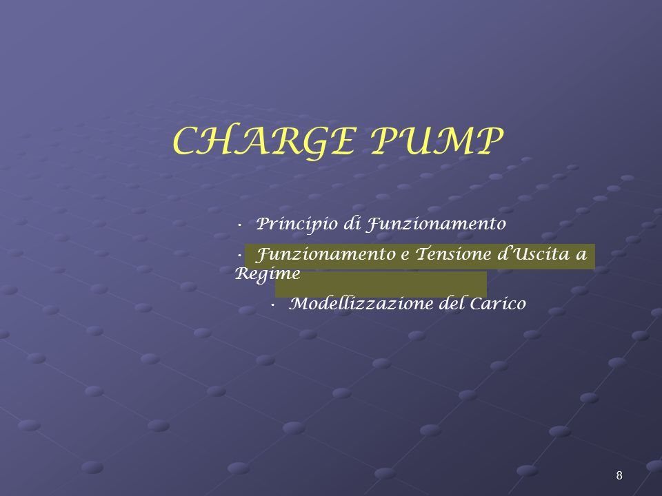 39 Charge Pump ad N Stadi (Carico Capacitivo) A regime V Out = Cost Nessuna carica viene pompata verso C Out Q = 0 Calcolo della V Out a Regime Calcolo della Tensione dUscita a Regime V Out t V Ck