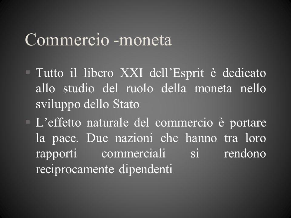 Commercio -moneta §Tutto il libero XXI dellEsprit è dedicato allo studio del ruolo della moneta nello sviluppo dello Stato §Leffetto naturale del comm