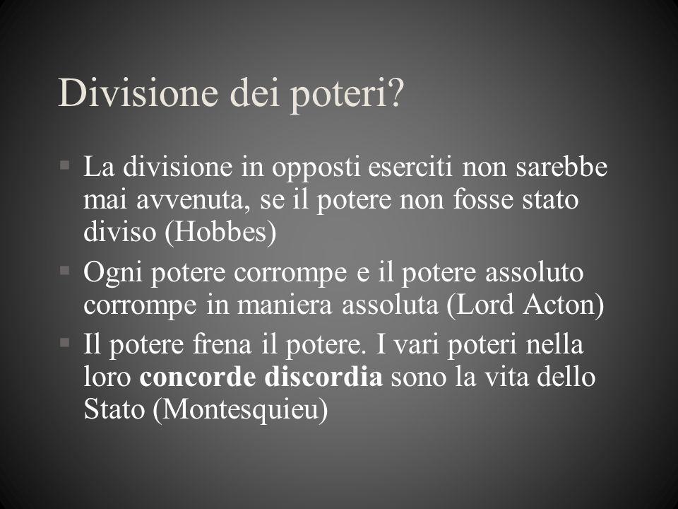 Divisione dei poteri? §La divisione in opposti eserciti non sarebbe mai avvenuta, se il potere non fosse stato diviso (Hobbes) §Ogni potere corrompe e