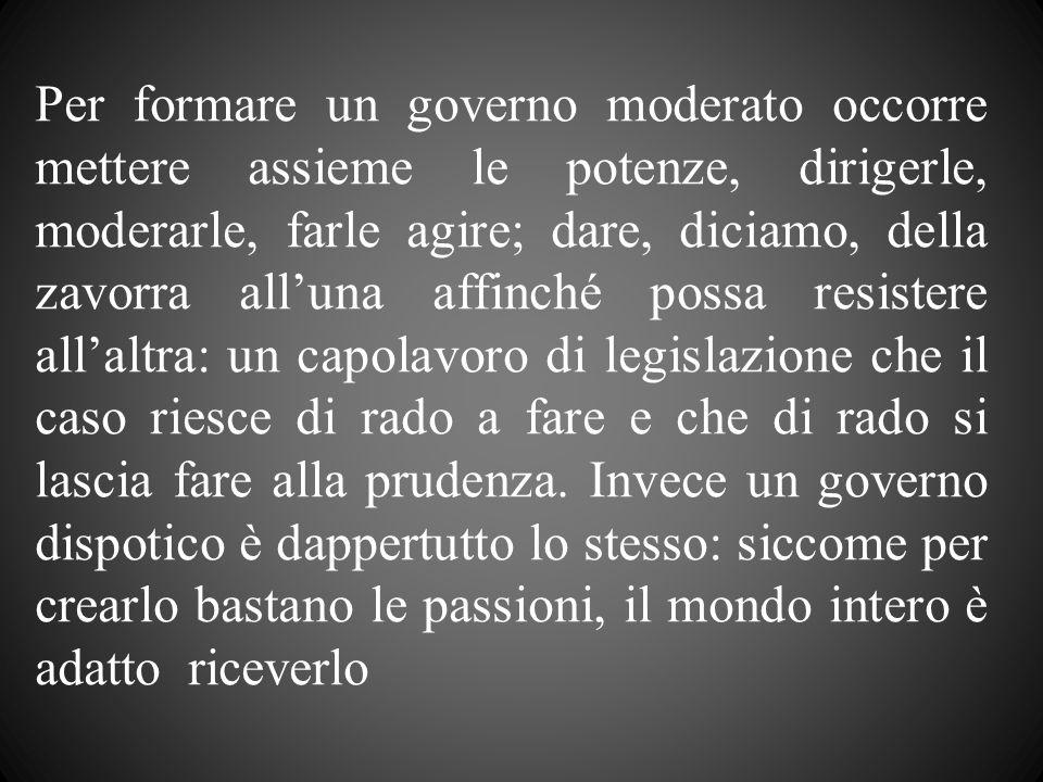 Per formare un governo moderato occorre mettere assieme le potenze, dirigerle, moderarle, farle agire; dare, diciamo, della zavorra alluna affinché po