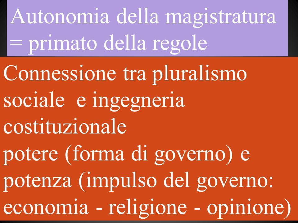 Autonomia della magistratura = primato della regole Connessione tra pluralismo sociale e ingegneria costituzionale potere (forma di governo) e potenza