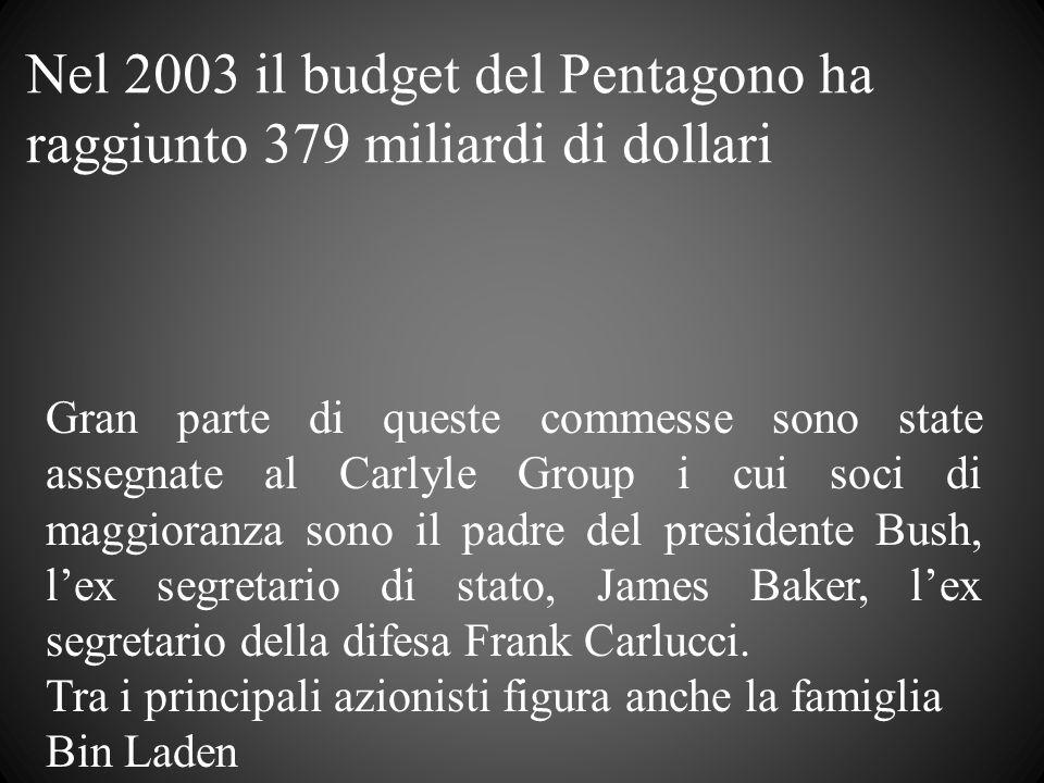 Nel 2003 il budget del Pentagono ha raggiunto 379 miliardi di dollari Gran parte di queste commesse sono state assegnate al Carlyle Group i cui soci d