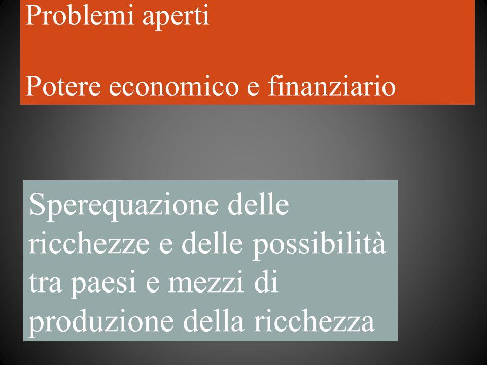 Problemi aperti Potere economico e finanziario Sperequazione delle ricchezze e delle possibilità tra paesi e mezzi di produzione della ricchezza