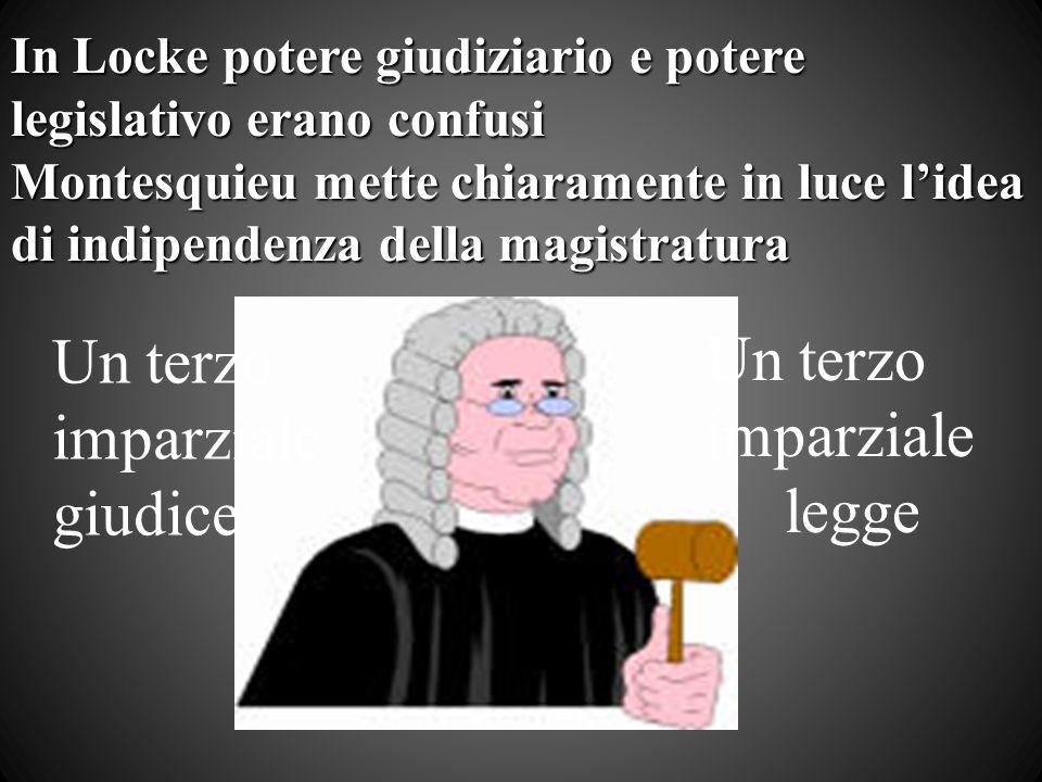In Locke potere giudiziario e potere legislativo erano confusi Montesquieu mette chiaramente in luce lidea di indipendenza della magistratura Un terzo