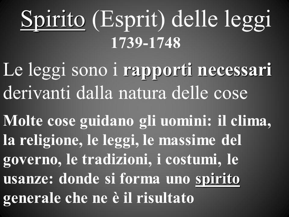 Spirito Spirito (Esprit) delle leggi 1739-1748 rapporti necessari Le leggi sono i rapporti necessari derivanti dalla natura delle cose spirito Molte c