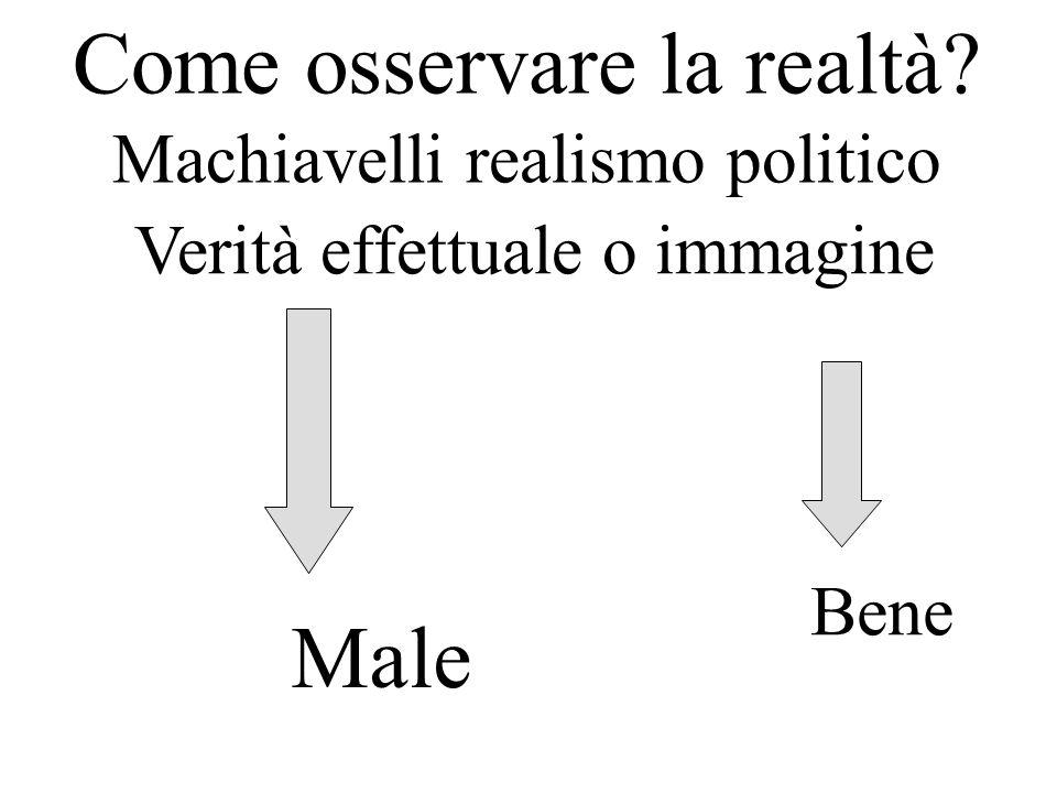 Come osservare la realtà? Machiavelli realismo politico Verità effettuale o immagine Bene Male