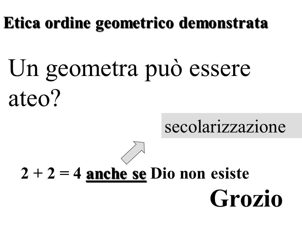 Etica ordine geometrico demonstrata Un geometra può essere ateo.