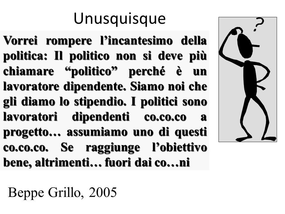 Unusquisque Vorrei rompere lincantesimo della politica: Il politico non si deve più chiamare politico perché è un lavoratore dipendente.