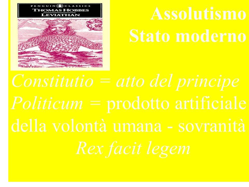 Assolutismo Stato moderno Constitutio = atto del principe Politicum = prodotto artificiale della volontà umana - sovranità Rex facit legem