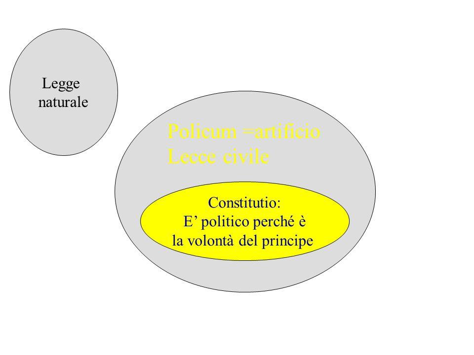 Constitutio: E politico perché è la volontà del principe Policum =artificio Lecce civile Legge naturale