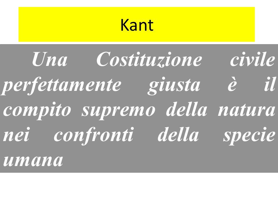 Kant Una Costituzione civile perfettamente giusta è il compito supremo della natura nei confronti della specie umana