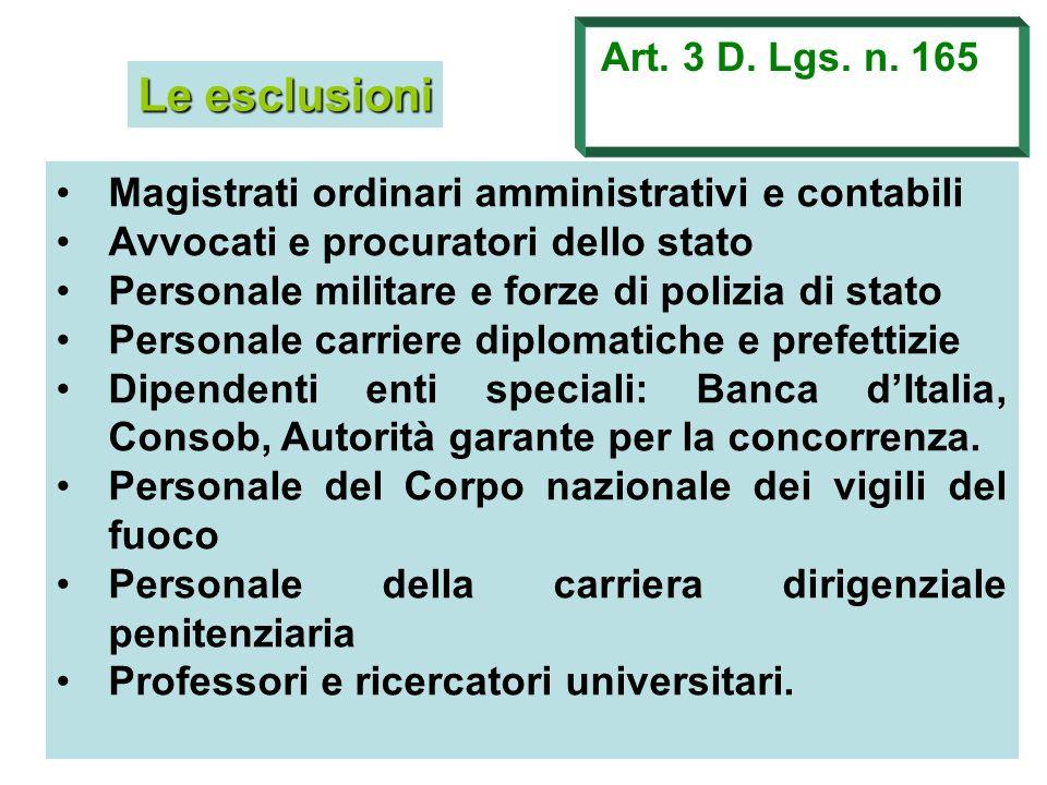 Le esclusioni Art. 3 D. Lgs. n. 165 Magistrati ordinari amministrativi e contabili Avvocati e procuratori dello stato Personale militare e forze di po