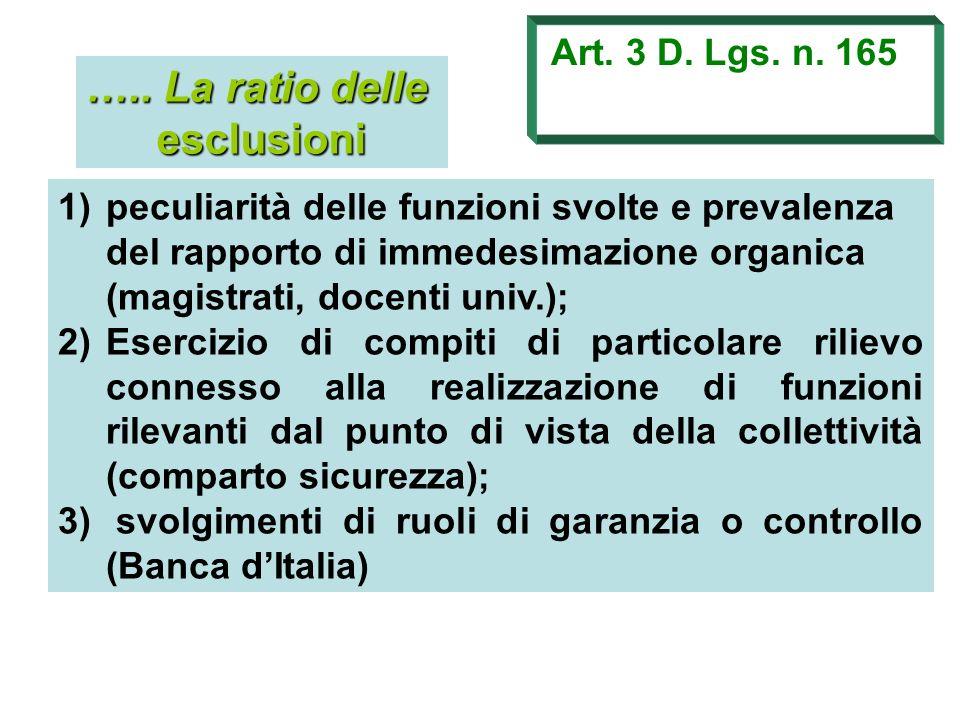 ….. La ratio delle esclusioni Art. 3 D. Lgs. n. 165 1)peculiarità delle funzioni svolte e prevalenza del rapporto di immedesimazione organica (magistr