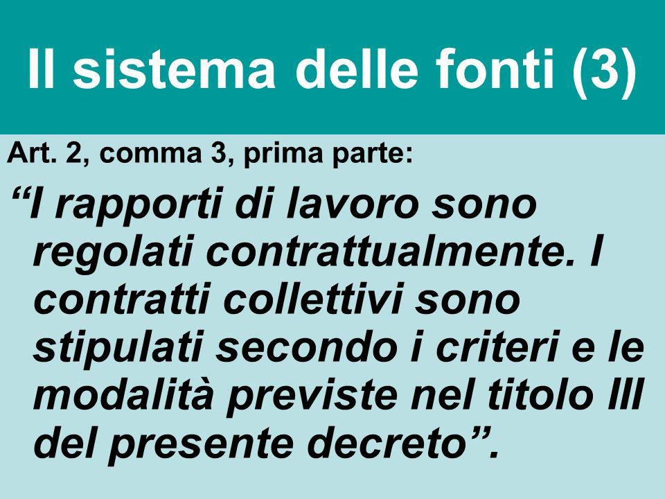 Il sistema delle fonti (3) Art. 2, comma 3, prima parte: I rapporti di lavoro sono regolati contrattualmente. I contratti collettivi sono stipulati se