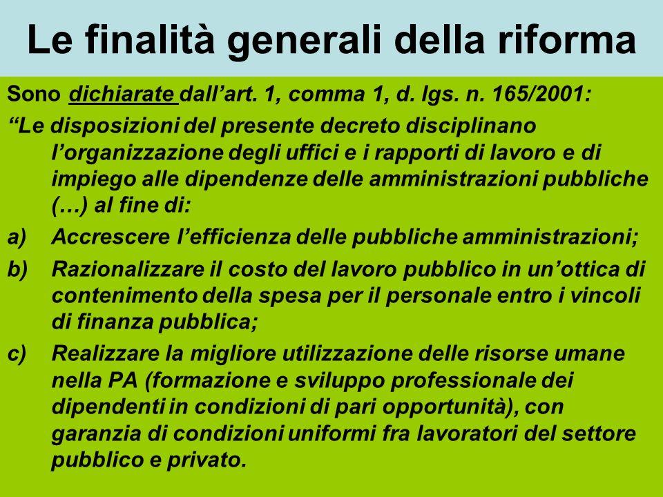 Le finalità generali della riforma Sono dichiarate dallart. 1, comma 1, d. lgs. n. 165/2001: Le disposizioni del presente decreto disciplinano lorgani