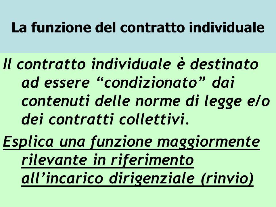 La funzione del contratto individuale Il contratto individuale è destinato ad essere condizionato dai contenuti delle norme di legge e/o dei contratti