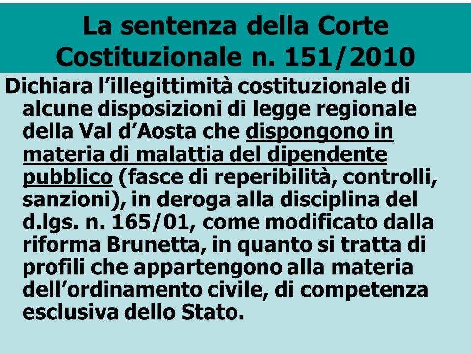 La sentenza della Corte Costituzionale n. 151/2010 Dichiara lillegittimità costituzionale di alcune disposizioni di legge regionale della Val dAosta c