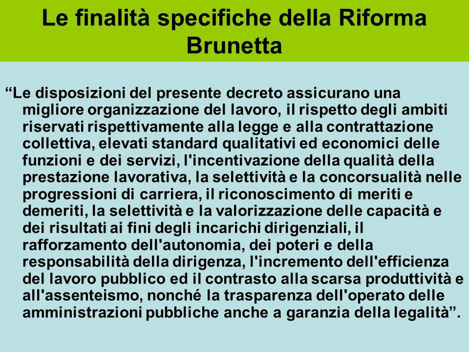 Le finalità specifiche della Riforma Brunetta Le disposizioni del presente decreto assicurano una migliore organizzazione del lavoro, il rispetto degl