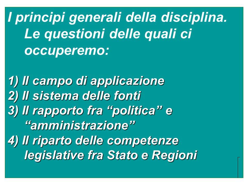 I principi generali della disciplina. Le questioni delle quali ci occuperemo: 1) Il campo di applicazione 2) Il sistema delle fonti 3) Il rapporto fra