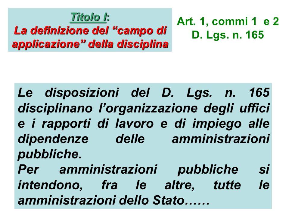 Titolo I: La definizione del campo di applicazione della disciplina Art. 1, commi 1 e 2 D. Lgs. n. 165 Le disposizioni del D. Lgs. n. 165 disciplinano