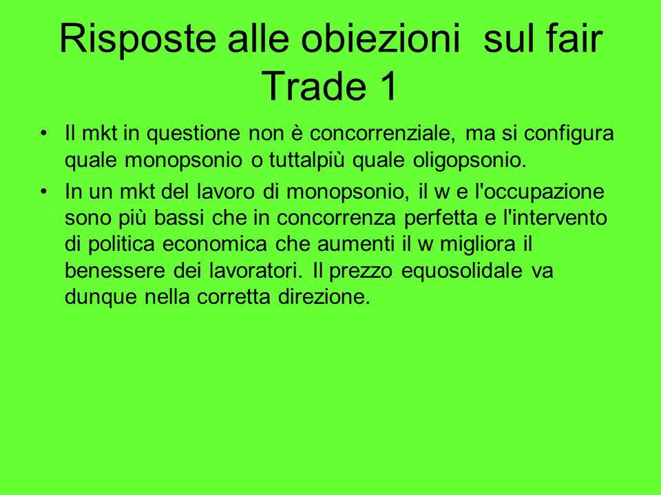 Risposte alle obiezioni sul fair Trade 1 Il mkt in questione non è concorrenziale, ma si configura quale monopsonio o tuttalpiù quale oligopsonio.