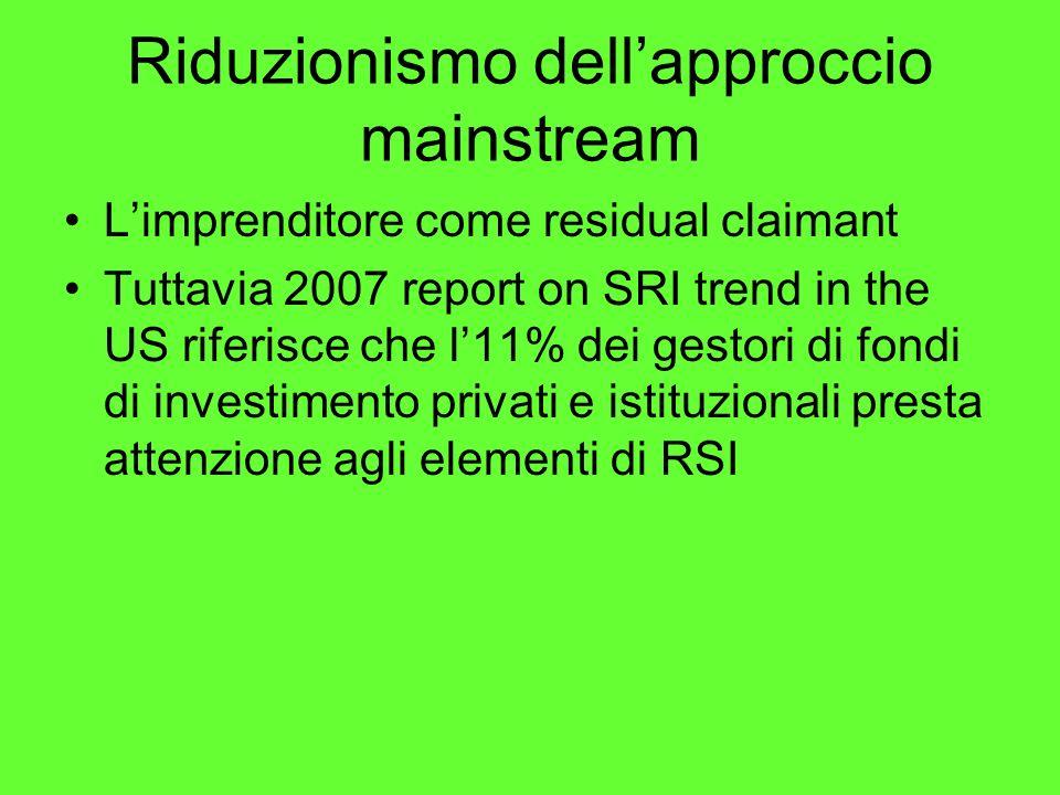 Riduzionismo dellapproccio mainstream Limprenditore come residual claimant Tuttavia 2007 report on SRI trend in the US riferisce che l11% dei gestori di fondi di investimento privati e istituzionali presta attenzione agli elementi di RSI