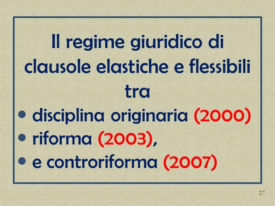 Il regime giuridico di clausole elastiche e flessibili tra disciplina originaria (2000) riforma (2003), e controriforma (2007) 27