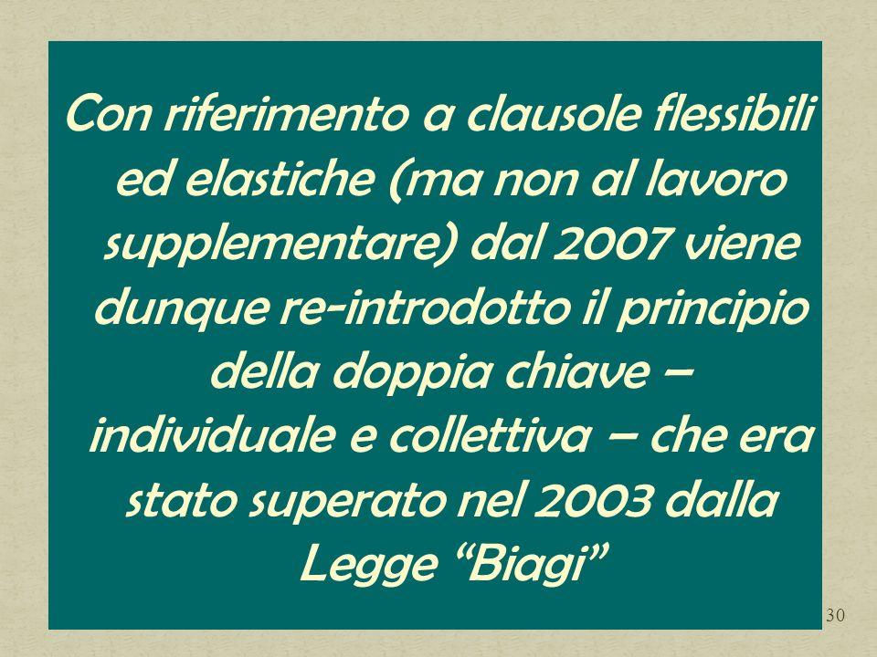 Con riferimento a clausole flessibili ed elastiche (ma non al lavoro supplementare) dal 2007 viene dunque re-introdotto il principio della doppia chiave – individuale e collettiva – che era stato superato nel 2003 dalla Legge Biagi 30