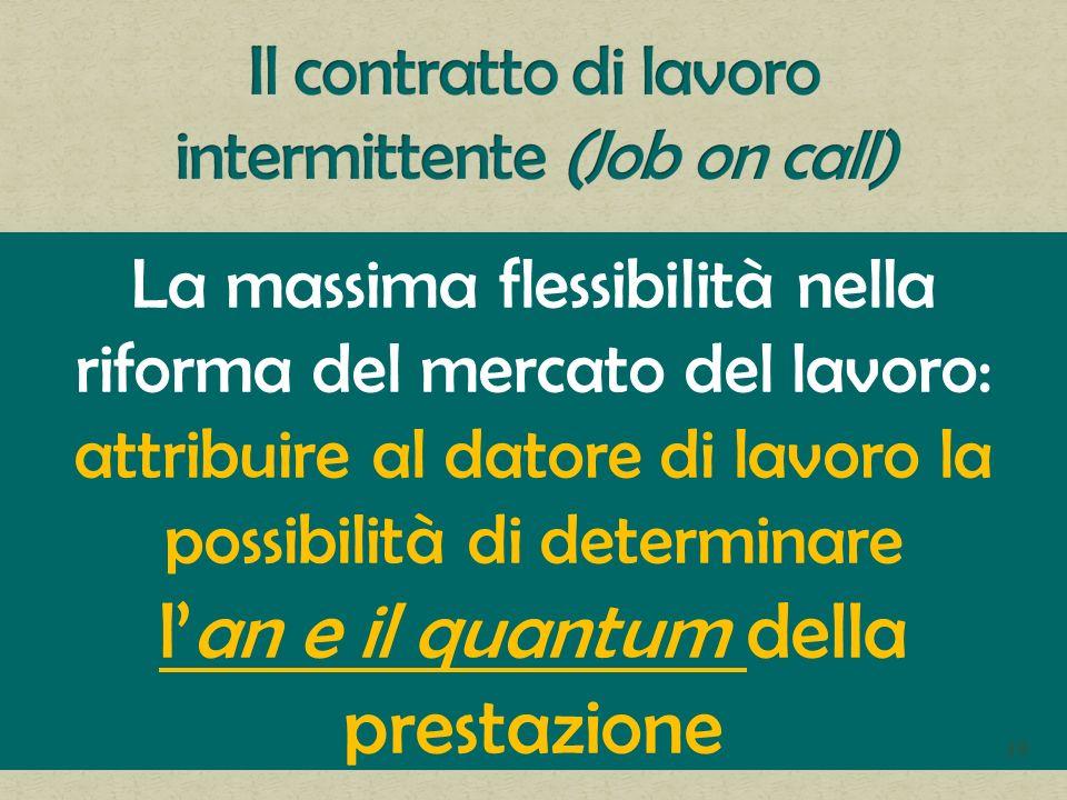La massima flessibilità nella riforma del mercato del lavoro: attribuire al datore di lavoro la possibilità di determinare lan e il quantum della prestazione 39