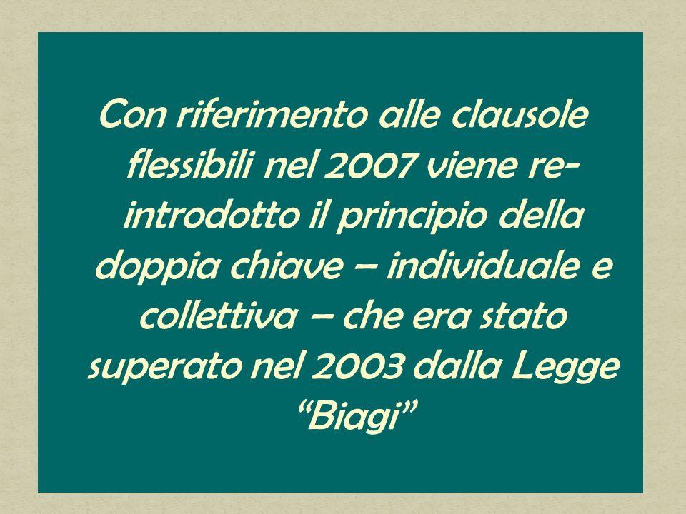 Con riferimento alle clausole flessibili nel 2007 viene re- introdotto il principio della doppia chiave – individuale e collettiva – che era stato superato nel 2003 dalla Legge Biagi