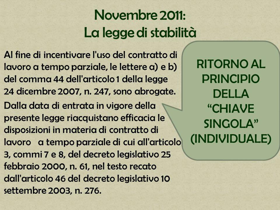 Al fine di incentivare l'uso del contratto di lavoro a tempo parziale, le lettere a) e b) del comma 44 dell'articolo 1 della legge 24 dicembre 2007, n