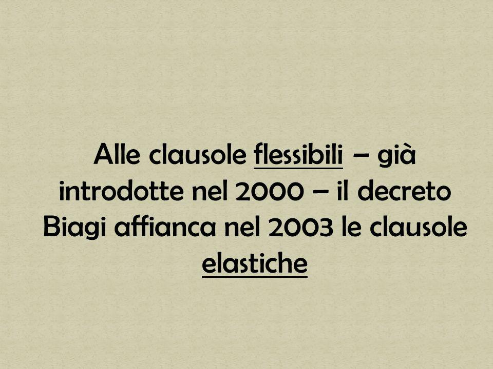 Alle clausole flessibili – già introdotte nel 2000 – il decreto Biagi affianca nel 2003 le clausole elastiche