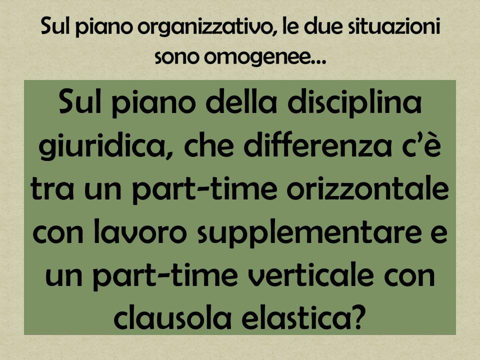 Sul piano della disciplina giuridica, che differenza cè tra un part-time orizzontale con lavoro supplementare e un part-time verticale con clausola elastica