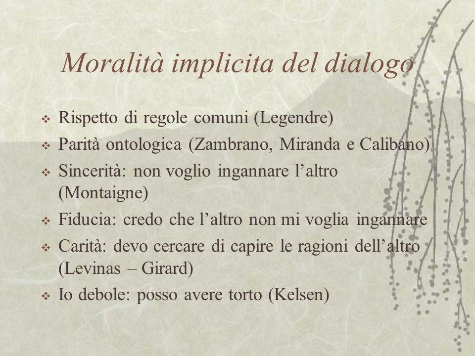 Moralità implicita del dialogo Rispetto di regole comuni (Legendre) Parità ontologica (Zambrano, Miranda e Calibano) Sincerità: non voglio ingannare l